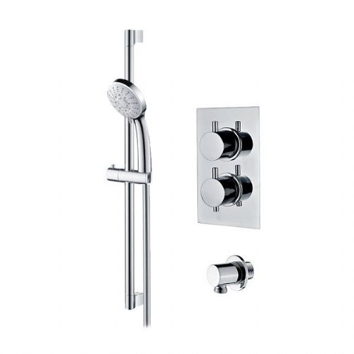Abacus Emotion Thermostatic Round Concealed Shower Mixer With Riser Rail Set - Chrome